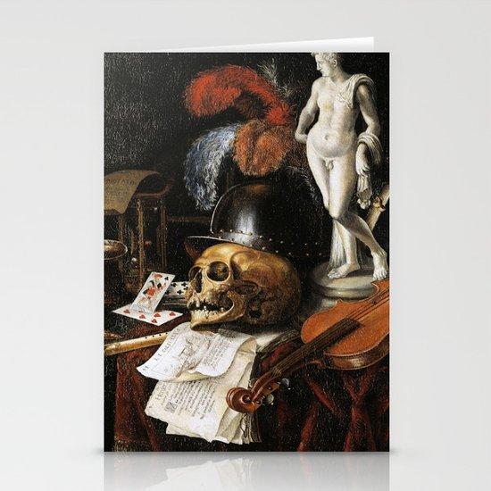 Vintage Vanitas- Still Life with Skull 3 Stationery Cards