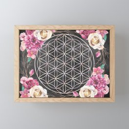 Flower of Life Rose Garden Framed Mini Art Print