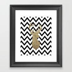 Glitter Deer Silhouette with Chevron Framed Art Print