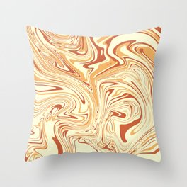 Caramel abstract marble 2 Throw Pillow