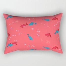 Pink Shark and Dolphin Rectangular Pillow