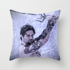 Bam Bam the Snow Warrior Throw Pillow