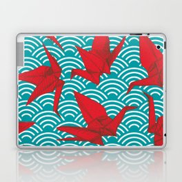 Origami red paper cranes sketch. burgundy maroon line Nature oriental Laptop & iPad Skin