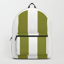 Dark Pastel Green Pepper Stem and White Wide Vertical Cabana Tent Stripe Backpack
