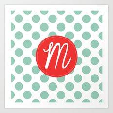 Monogram Initial M Polka Dot Art Print