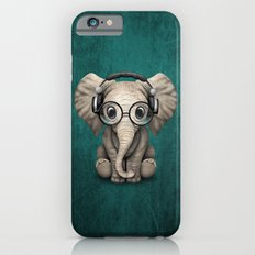 Cute Baby Elephant Dj Wearing Headphones and Glasses on Blue Slim Case iPhone 6