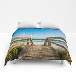 Head to the Beach - Boardwalk Leads to Summer Fun in Florida Comforters