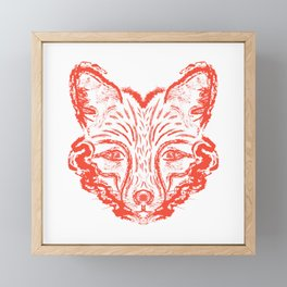 Muzzle foxes. Fox with sideburns, sketch strokes. Framed Mini Art Print