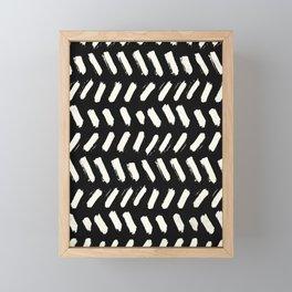 Tribal Dance Dot - Ivory on Black Framed Mini Art Print