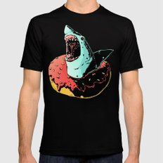 donut shark! LARGE Mens Fitted Tee Black