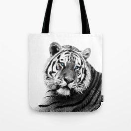 Black and white fractal tiger Tote Bag