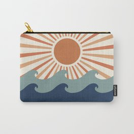 Retro, Sun and Wave Art, Blue and Orange Carry-All Pouch