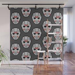 Knitted Jason hockey mask pattern Wall Mural