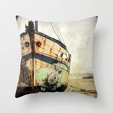 Boat Wreck #1 Throw Pillow