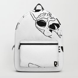 Purr Evil - Black - Hairless Sphynx Cat Arching Her Back - Funny Animal Quote - Line Drawing Wrinkly Kitty- Backpack
