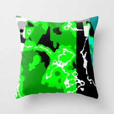 Green Turquoise black and white abstract Throw Pillow