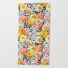 Collage of Poppies and Pattern Beach Towel
