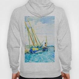 Henri-Edmond Cross Neo-Impressionism Pointillism Marine Scene (Boats near Venice) Watercolor Hoody