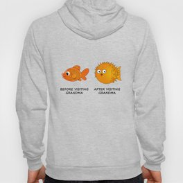 Before and After visiting Grandma - Funny Fish Illustration Hoody