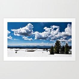 Cloudy Snowy Open Ladscape - Crater Lake National Park, Oregon Art Print