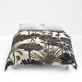 BLACK FLOWERS Comforters