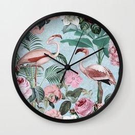 Flamingo Paradise Wall Clock