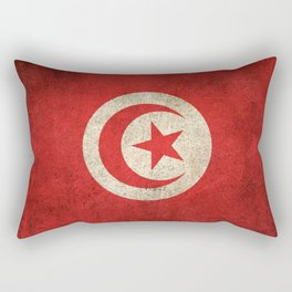Old and Worn Distressed Vintage Flag of Tunisia Rectangular Pillow