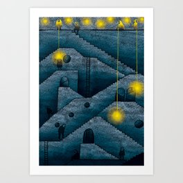 Labyrinth of stairs Art Print