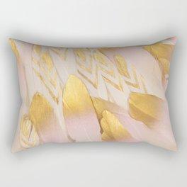Gold Pink Arrow Feathers Rectangular Pillow