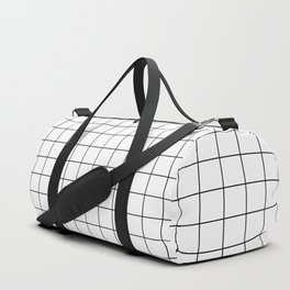 Grid Simple Line White Minimalist Duffle Bag