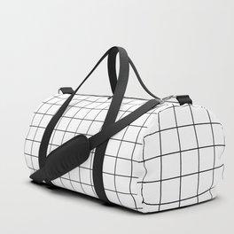 Grid Pattern Stripes Lines Black and White Minimalist Geometric Stripe Line Sporttaschen
