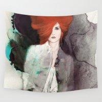 fashion illustration Wall Tapestries featuring FASHION ILLUSTRATION 11 by Justyna Kucharska