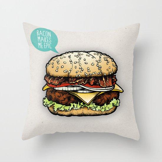 Epic Burger Throw Pillow