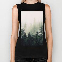 Foggy Pine Trees Biker Tank
