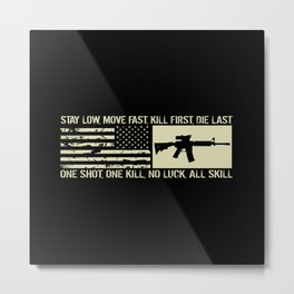 M4 Assault Rifle & Tactical Flag Metal Print
