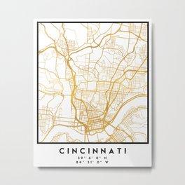 CINCINNATI OHIO CITY STREET MAP ART Metal Print