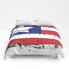 Wood Grain American Flag 4th of July with Fade Print Comforters