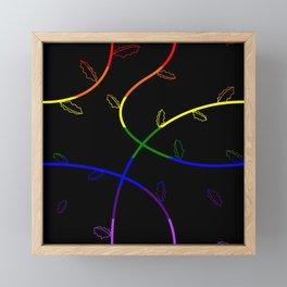 Jagged leaves, rainbow pride flag Framed Mini Art Print