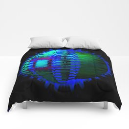 Green Layered Star in Blue Flames Comforters