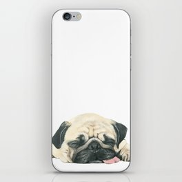 Nap Pug, Dog illustration original painting print iPhone Skin