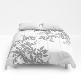 LEAF TOILE GRAY AND WHITE PATTERN Comforters