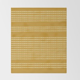 Spotted, Mudcloth, Mustard Yellow, Wall Art Boho Throw Blanket
