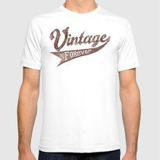 Vintage Forever White SMALL Mens Fitted Tee