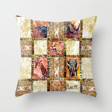 Quilted African Life. Throw Pillow