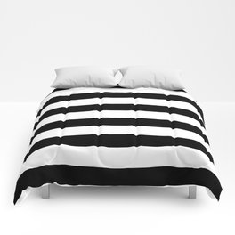 Stripe Black & White Horizontal Comforters