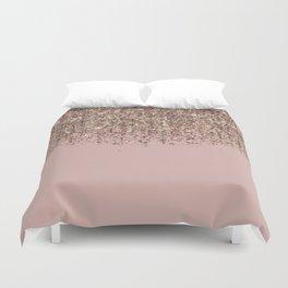Blush Pink Rose Gold Bronze Cascading Glitter Duvet Cover