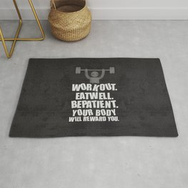 Lab No. 4 - Work Out Eat Well Be Patient Gym Motivational Quotes Poster Rug