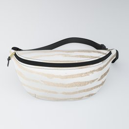 Simply Brushed Lines White Gold Sands on White Fanny Pack
