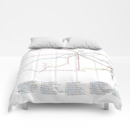 Amtrak Passenger Rail System Map Comforters