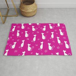 White Retro Cat Pattern // Bright Pink Cats Rug